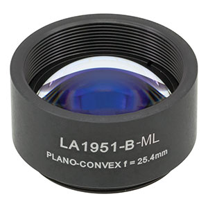 LA1951-B-ML - Ø1in N-BK7 Plano-Convex Lens, SM1-Threaded Mount, f = 25.4 mm, ARC: 650-1050 nm
