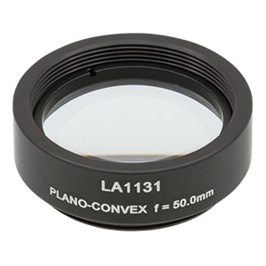 LA1131-ML - Ø1in N-BK7 Plano-Convex Lens, SM1-Threaded Mount, f = 50 mm, Uncoated