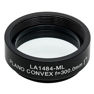 LA1484-ML - Ø1in N-BK7 Plano-Convex Lens, SM1-Threaded Mount, f = 300 mm, Uncoated