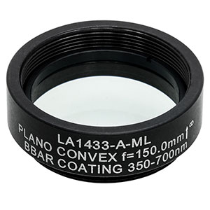 LA1433-A-ML - Ø1in N-BK7 Plano-Convex Lens, SM1-Threaded Mount, f = 150 mm, ARC: 350-700 nm