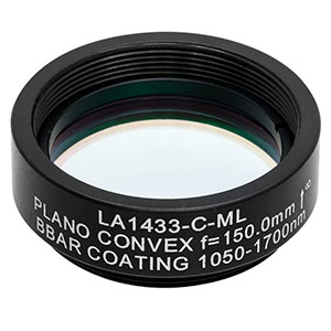 LA1433-C-ML - Ø1in N-BK7 Plano-Convex Lens, SM1-Threaded Mount, f = 150 mm, ARC: 1050-1700 nm