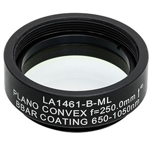 LA1461-B-ML - Ø1in N-BK7 Plano-Convex Lens, SM1-Threaded Mount, f = 250 mm, ARC: 650-1050 nm