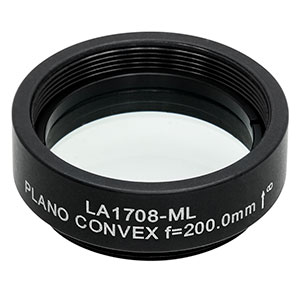 LA1708-ML - Ø1in N-BK7 Plano-Convex Lens, SM1-Threaded Mount, f = 200 mm, Uncoated