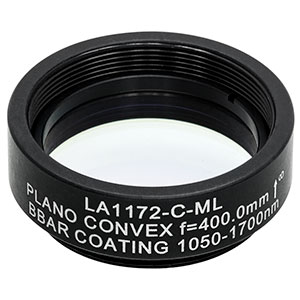 LA1172-C-ML - Ø1in N-BK7 Plano-Convex Lens, SM1-Threaded Mount, f = 400 mm, ARC: 1050-1620 nm