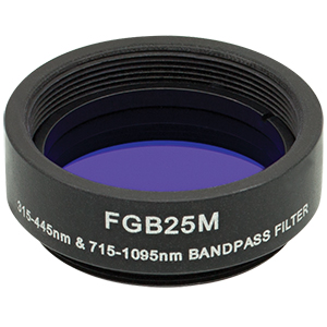 FGB25M - Ø25 mm BG3 Colored Glass Bandpass Filter, SM1-Threaded Mount