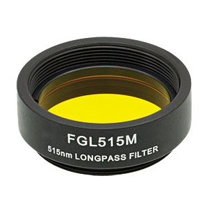 FGL515M - Ø25 mm SM1-Mounted Colored Glass Filter, 515 nm Longpass