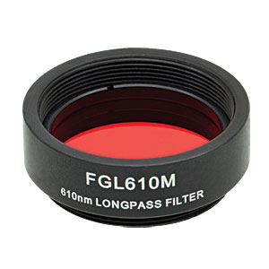 FGL610M - Ø25 mm SM1-Mounted Colored Glass Filter, 610 nm Longpass