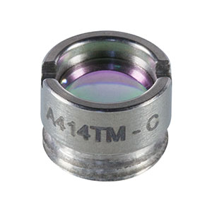 A414TM-C - f = 3.3 mm, NA = 0.47, Mounted Rochester Aspheric Lens, AR: 1050-1550 nm