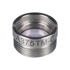 A375TM-C - f = 7.5 mm, NA = 0.3, Mounted Rochester Aspheric Lens, AR: 1050-1620 nm