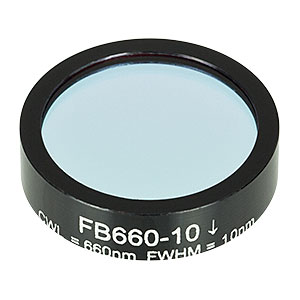 FB660-10 - Ø1in Bandpass Filter, CWL = 660 ± 2 nm, FWHM = 10 ± 2 nm