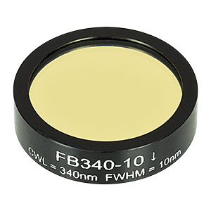 FB340-10 - Ø1in Bandpass Filter, CWL = 340 ± 2 nm, FWHM = 10 ± 2 nm