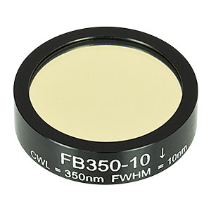 FB350-10 - Ø1in Bandpass Filter, CWL = 350 ± 2 nm, FWHM = 10 ± 2 nm