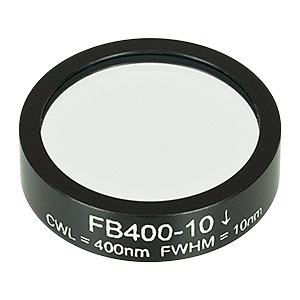 FB400-10 - Ø1in Bandpass Filter, CWL = 400 ± 2 nm, FWHM = 10 ± 2 nm