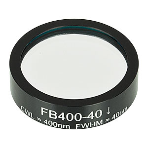 FB400-40 - Ø1in Bandpass Filter, CWL = 400 ± 8 nm, FWHM = 40 ± 8 nm