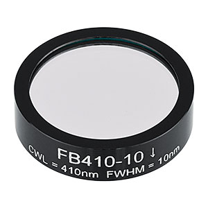 FB410-10 - Ø1in Bandpass Filter, CWL = 410 ± 2 nm, FWHM = 10 ± 2 nm
