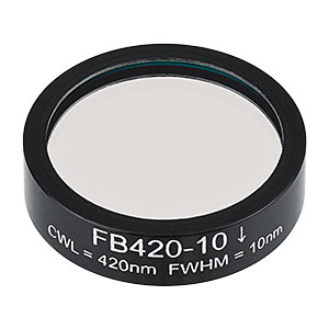 FB420-10 - Ø1in Bandpass Filter, CWL = 420 ± 2 nm, FWHM = 10 ± 2 nm
