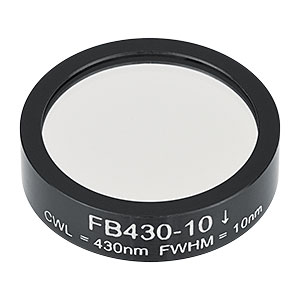 FB430-10 - Ø1in Bandpass Filter, CWL = 430 ± 2 nm, FWHM = 10 ± 2 nm