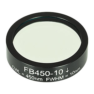 FB450-10 - Ø1in Bandpass Filter, CWL = 450 ± 2 nm, FWHM = 10 ± 2 nm