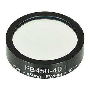FB450-40 - Ø1in Bandpass Filter, CWL = 450 ± 8 nm, FWHM = 40 ± 8 nm