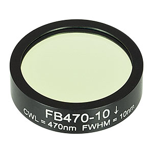 FB470-10 - Ø1in Bandpass Filter, CWL = 470 ± 2 nm, FWHM = 10 ± 2 nm