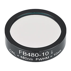 FB480-10 - Ø1in Bandpass Filter, CWL = 480 ± 2 nm, FWHM = 10 ± 2 nm