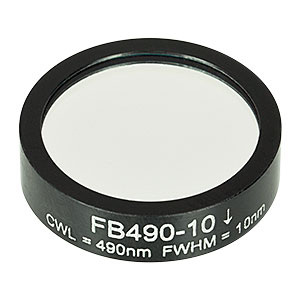FB490-10 - Ø1in Bandpass Filter, CWL = 490 ± 2 nm, FWHM = 10 ± 2 nm