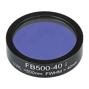 FB500-40 - Ø1in Bandpass Filter, CWL = 500 ± 8 nm, FWHM = 40 ± 8 nm
