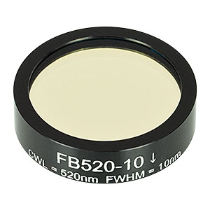 FB520-10 - Ø1in Bandpass Filter, CWL = 520 ± 2 nm, FWHM = 10 ± 2 nm