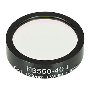FB550-40 - Ø1in Bandpass Filter, CWL = 550 ± 8 nm, FWHM = 40 ± 8 nm