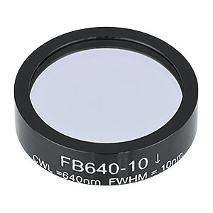 FB640-10 - Ø1in Bandpass Filter, CWL = 640 ± 2 nm, FWHM = 10 ± 2 nm