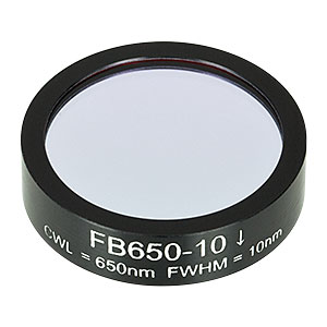 FB650-10 - Ø1in Bandpass Filter, CWL = 650 ± 2 nm, FWHM = 10 ± 2 nm
