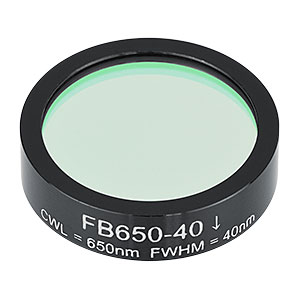 FB650-40 - Ø1in Bandpass Filter, CWL = 650 ± 8 nm, FWHM = 40 ± 8 nm
