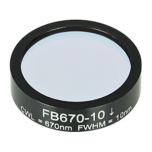 FB670-10 - Ø1in Bandpass Filter, CWL = 670 ± 2 nm, FWHM = 10 ± 2 nm