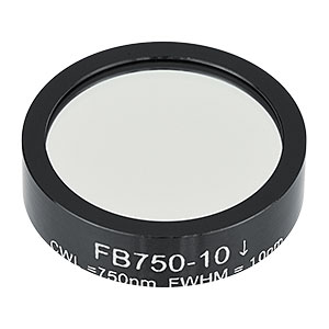 FB750-10 - Ø1in Bandpass Filter, CWL = 750 ± 2 nm, FWHM = 10 ± 2 nm
