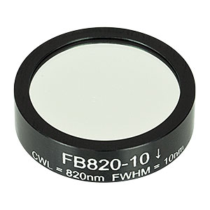 FB820-10 - Ø1in Bandpass Filter, CWL = 820 ± 2 nm, FWHM = 10 ± 2 nm
