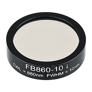 FB860-10 - Ø1in Bandpass Filter, CWL = 860 ± 2 nm, FWHM = 10 ± 2 nm