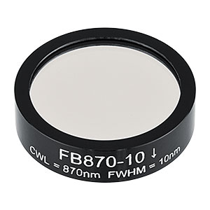 FB870-10 - Ø1in Bandpass Filter, CWL = 870 ± 2 nm, FWHM = 10 ± 2 nm