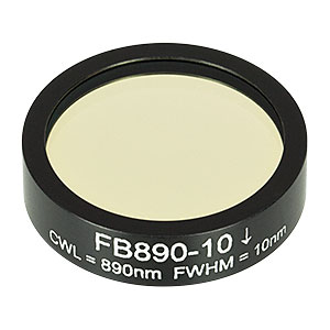 FB890-10 - Ø1in Bandpass Filter, CWL = 890 ± 2 nm, FWHM = 10 ± 2 nm