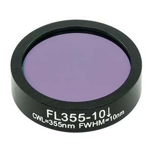 FL355-10 - Ø1in Laser Line Filter, CWL = 355 ± 2 nm, FWHM = 10 ± 2 nm
