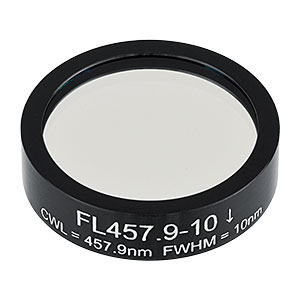 FL457.9-10 - Ø1in Laser Line Filter, CWL = 457.9 ± 2 nm, FWHM = 10 ± 2 nm
