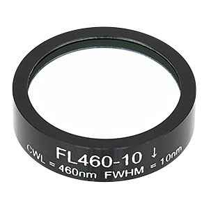 FL460-10 - Ø1in Laser Line Filter, CWL = 460 ± 2 nm, FWHM = 10 ± 2 nm