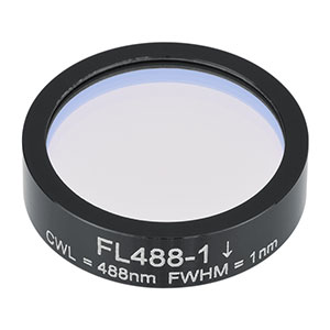 FL488-1 - Ø1in Laser Line Filter, CWL = 488 ± 0.2 nm, FWHM = 1 ± 0.2 nm
