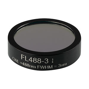 FL488-3 - Ø1in Laser Line Filter, CWL = 488 ± 0.6 nm, FWHM = 3 ± 0.6 nm