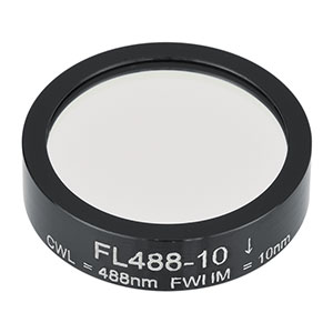 FL488-10 - Ø1in Laser Line Filter, CWL = 488 ± 2 nm, FWHM = 10 ± 2 nm