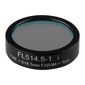 FL514.5-1 - Ø1in Laser Line Filter, CWL = 514.5 ± 0.2 nm, FWHM = 1 ± 0.2 nm