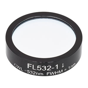 FL532-1 - Ø1in Laser Line Filter, CWL = 532 ± 0.2 nm, FWHM = 1 ± 0.2 nm
