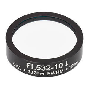 FL532-10 - Ø1in Laser Line Filter, CWL = 532 ± 2 nm, FWHM = 10 ± 2 nm