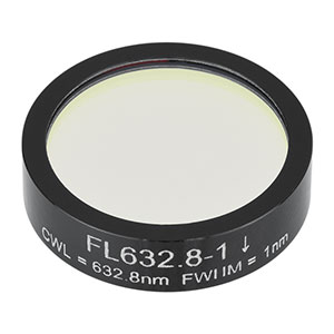 FL632.8-1 - Ø1in Laser Line Filter, CWL = 632.8 ± 0.2 nm, FWHM = 1 ± 0.2 nm