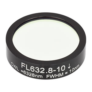 FL632.8-10 - Ø1in Laser Line Filter, CWL = 632.8 ± 2 nm, FWHM = 10 ± 2 nm