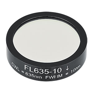 FL635-10 - Ø1in Laser Line Filter, CWL = 635 ± 2 nm, FWHM = 10 ± 2 nm